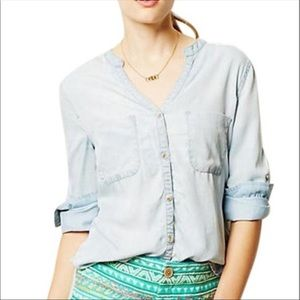 Antrhro Holding Horses Chambray Embroidered Shirt